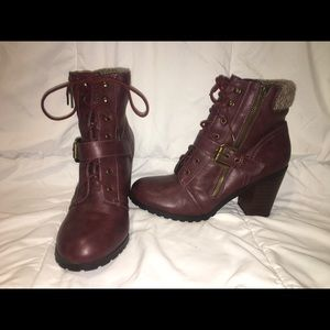 Burgundy Lace-Up Heeled Booties